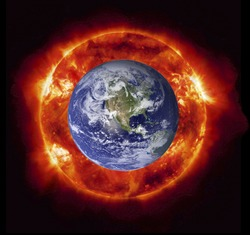 Concept of the Sun burning the planet Earth (Nasa imagery).