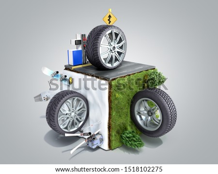 concept of three types of roads asphalt snow and off road 3d render on grey gradient