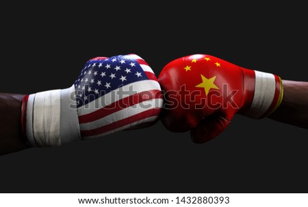 Concept of trade war between USA and China. 3d illustration two boxer fighting US and China flag trading punches for the concept: Trade War.