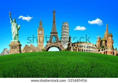 Concept of travel. Green field with the wonders of the world. Around The World Tours