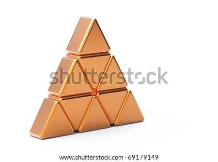 Concept of unique  gold  metal  triangle