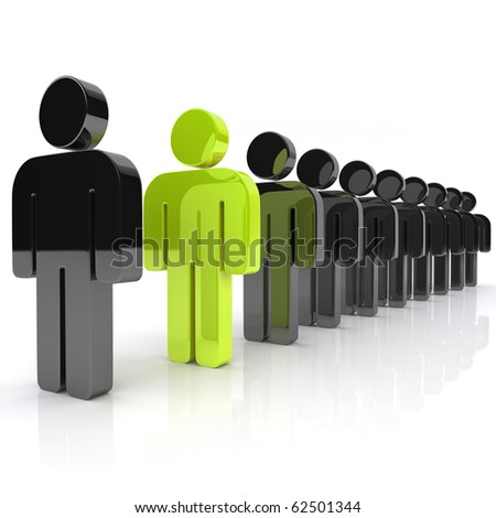 Concept of uniqueness with business guys(green)