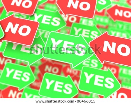 "Concept of voting: some green and red  arrows with a words ""Yes"" and ""No"""