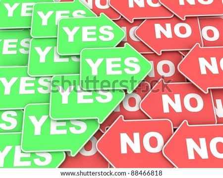 """Concept of voting: some green and red  arrows with a words """"Yes"""" and """"No"""""""