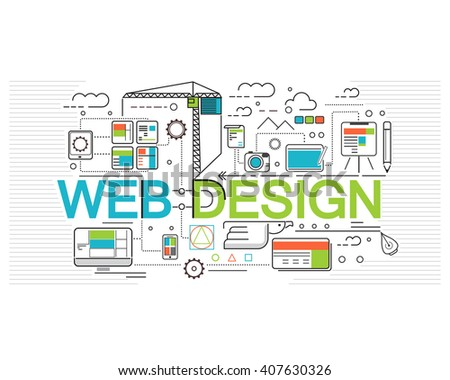 Concept of web design, flat style creativity in building web page