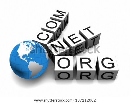 Concept of web domains with globe isolated on white background. Elements of this image furnished by NASA.