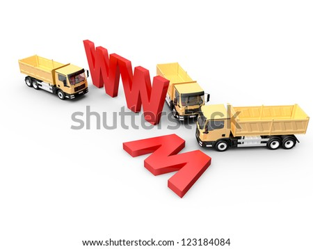 Concept of website under construction with red www letters and yellow trucks, isolated on white background.