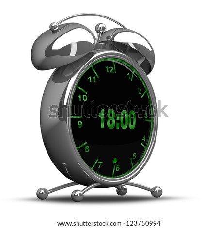 concept. Old-fashioned alarm clock with technology screen isolated on white background High resolution. 3D image