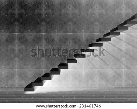 Concept or conceptual black stone or concrete stair or steps near a wall background with wood floor, metaphor to architecture, success, climb, business, staircase, rise, achievement, growth or future #231461746