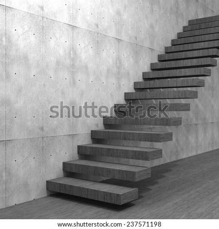 Concept or conceptual black stone or concrete stair or steps near a wall background with wood floor, metaphor to architecture, success, climb, business, staircase, rise, achievement, growth or future #237571198