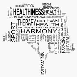 Concept or conceptual black text word cloud or tagcloud as a tree isolated on white background as metaphor for health, nutrition, diet, wellness, body, energy, medical, sport, heart or science