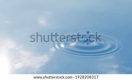 Concept or conceptual blue liquid drop falling in water on background with ripples and waves. 3d illustration metaphor for nature, natural, summer, spa, cool, business, environment, rain or health