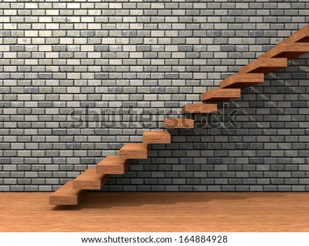 Concept or conceptual brown wood or wooden stair or steps near a brick wall background on  floor,metaphor to architecture,success,climb,business,staircase,stairway,rise,achievement,growth or future