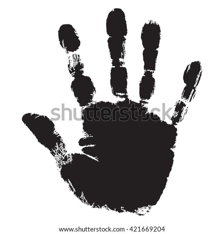 concept or conceptual cute paint human hand or handprint of child