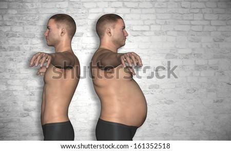 Concept or conceptual 3D fat overweight and slim fit young man on diet over vintage brick wall background,metaphor to health,body,fitness,dieting,abdomen,loss,lifestyle,obesity,unhealthy,sport or thin