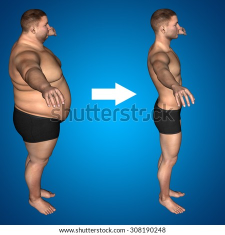Concept or conceptual 3D fat overweight vs slim fit diet with muscles young man blue gradient background metaphor weight loss, body, fitness, fatness, obesity, health, healthy, male, dieting or shape