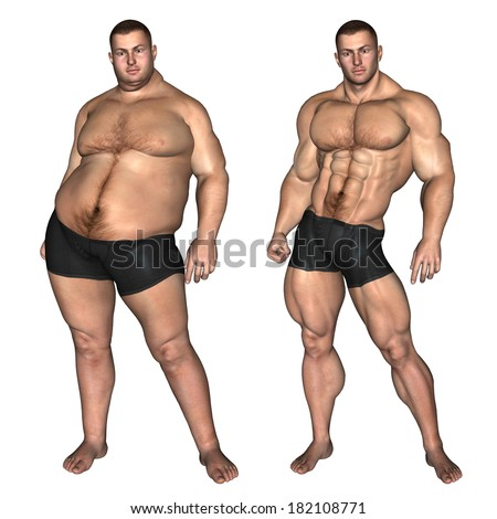 Concept Or Conceptual 3d Fat Overweight Vs Slim Fit With ...