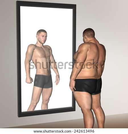 Concept or conceptual 3D fat overweight vs slim fit with muscles young man on diet reflecting in mirror, metaphor weight loss, body, fitness, fatness, obesity, health, healthy, male, dieting or shape