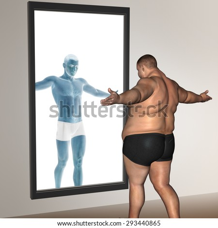 Concept or conceptual 3D fat overweight vs slim fit with muscles young man on diet reflecting in a mirror metaphor weight loss, body, fitness, obesity, health, healthy, male, dieting or shape