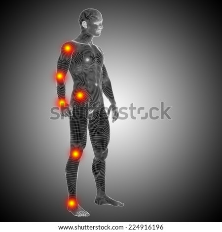 Concept or conceptual 3D human anatomy mesh or wireframe body with pain, ache isolated on black background, metaphor to health, medicine, medical, biology, osteoporosis, arthritis, joint, inflammation