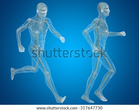 Concept Or Conceptual 3d Human Man Or Male Skeleton Anatomy