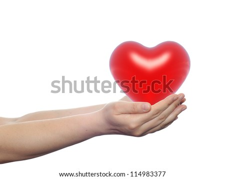 Concept or conceptual 3D red glass heart sign or symbol held in hands by a woman or child isolated over a white background as a metaphor for love,holiday,wedding,care,valentine,protection or romantic