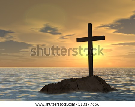 Concept or conceptual dark christian cross standing on a rock in the sea or ocean over a beautiful sky at sunset as a metaphor for faith religion reli gious belief jesus christ spiritual or church