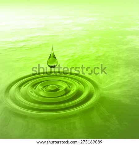 Concept or conceptual green liquid drop falling in water with ripples and waves background, metaphor to nature, natural, summer, spa, drink, cool, business, environment, rain or health design