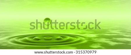 Concept or conceptual green liquid drop falling in water with ripples and waves background banner metaphor to nature, natural, summer, spa, drink, cool, business, environment, rain or health design