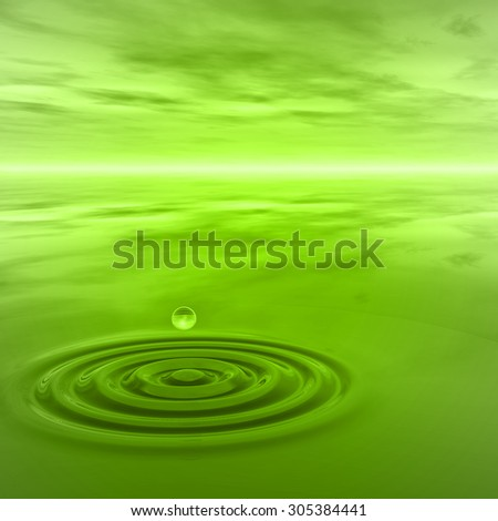 Concept or conceptual green liquid drop falling in water with ripples and waves background metaphor to nature, natural, summer, spa, drink, cool, business, environment, rain or health design