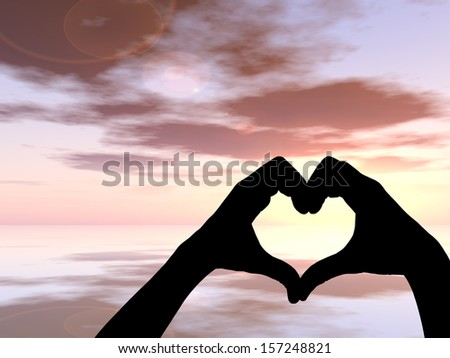 Concept or conceptual heart shape or symbol of human or woman and man hand silhouette over sky and sea at sunset background, for love, valentine, romantic, couple, wedding, romance, summer or sunrise #157248821