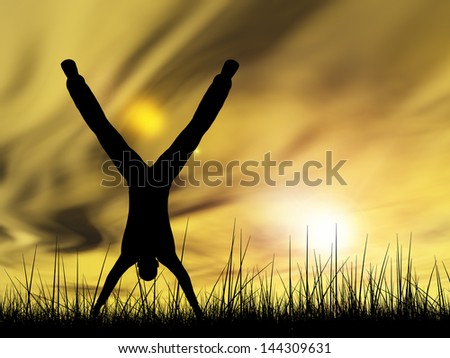 Concept or conceptual human male or young man black silhouette playing happy in summer grass over sky at sunset or sunrise background,metaphor to happiness,nature,freedom,joy,jump,fun,success or free