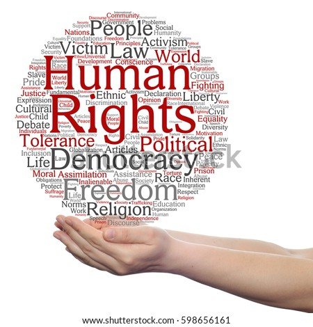 Concept or conceptual human rights political freedom or democracy circle word cloud in hand isolated on background metaphor to humanity world tolerance, law principles, people justice discrimination Сток-фото ©