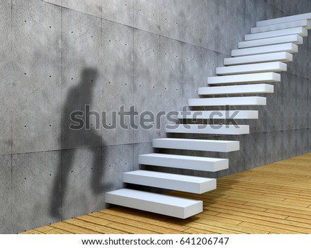 Concept or conceptual leadership man businessman job or career rise climb on stair or steps near a wall background. A success, business achievement, education growth, goal or future 3D illustration #641206747