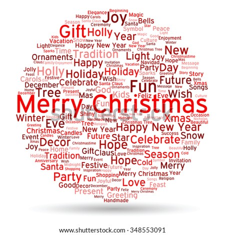 concept or conceptual merry christmas holiday or happy new year winter abstract text word cloud on