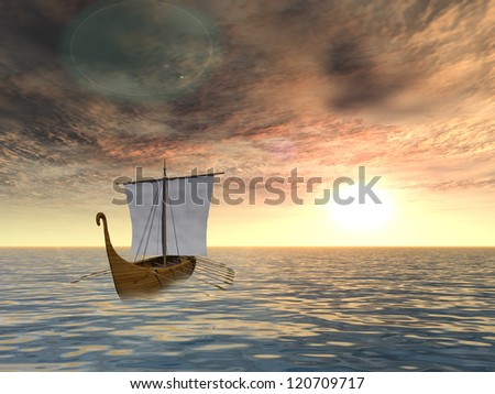Concept or conceptual old ship or sailboat in wavy water in a sea or ocean over a sky with clouds, sun at sunset