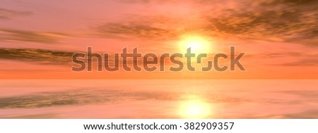 Concept or conceptual sunset or sunrise background with the sun at horizon and sea or ocean, metaphor to nature, romantic, dramatic, light, evening, morning, peace, atmosphere, weather or sunshine - Shutterstock ID 382909357