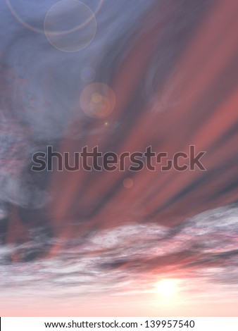 Concept or conceptual sunset or sunrise background with the sun close to horizon as a metaphor for nature,finish,sadness,romantic,dramatic,light,evening or morning,peace,atmosphere,weather or sunshine