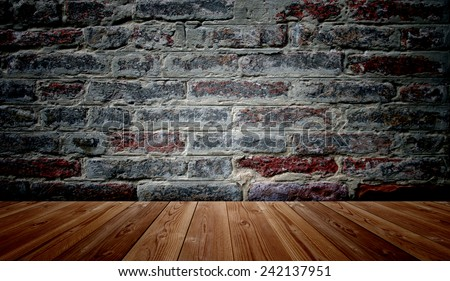 Concept or conceptual vintage or grungy brown background of natural wood or wooden old texture floor and brick wall as a retro pattern layout, metaphor to time, grunge, masonry, brickwork aged or rust
