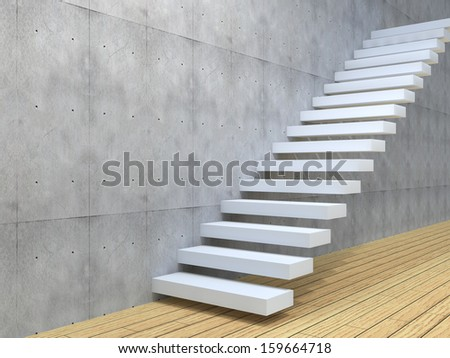 Concept or conceptual white stone or concrete stair or steps near a wall background with wood floor,metaphor to architecture,success,climb,business,staircase,stairway,rise,achievement,growth or future