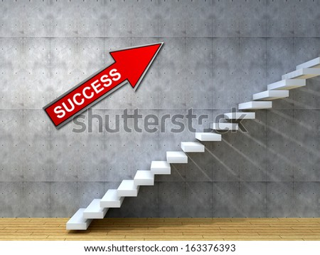Concept or conceptual white stone or concrete stair or steps near a wall background with wood floor,metaphor to architecture,success,climb,business,staircase,stairway,rise,achievement,growth or future - stock photo
