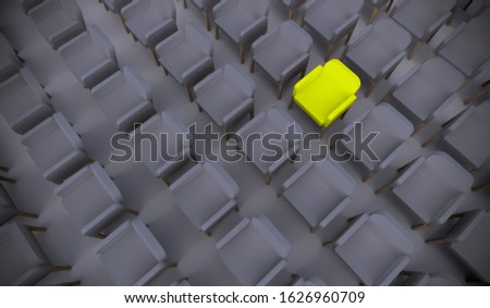 Concept or conceptual yellow armchair standing out in a  conference room as a metaphor for leadership, vision and strategy. A 3d illustration of individuality, creativity and achievement