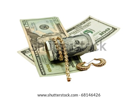 Concept or Metaphor for selling old gold jewelry for cash.