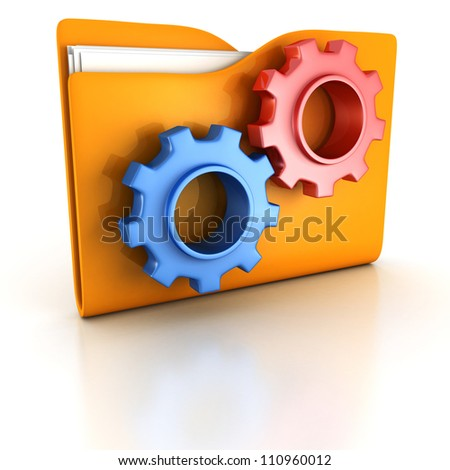 concept orange office folder with working blue and red gears Foto d'archivio ©
