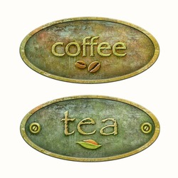 Concept packaging of tea and coffee. Coffee label for your design. Metal plate for the package of tea.