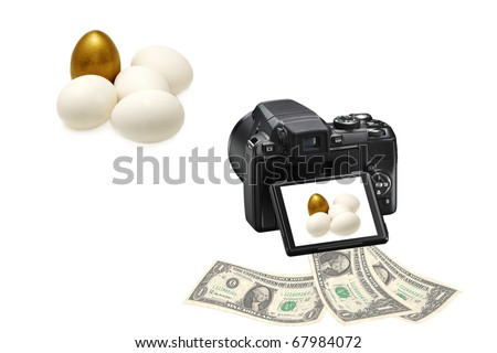 Concept photo for microstock photography, making money by camera shooting