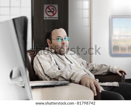 Concept photo of a middle aged man waiting in doctor's office with head breaking open representing mental health issues and headaches