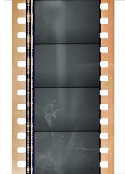 concept photo of 35mm cine film strip with empty frames isolated on white backgroud with cool texture and optical stereo sound showing the amplitude of the audio signal, analog sound part.
