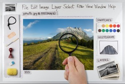 Concept photo of photo editing software workspace