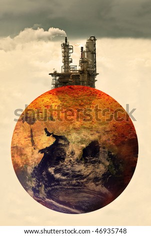 concept photo of pollution on earth, Earth map by courtesy of visibleearth.nasa.gov